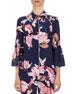 Aran Floral-Print Pajama Top, Navy/Pink