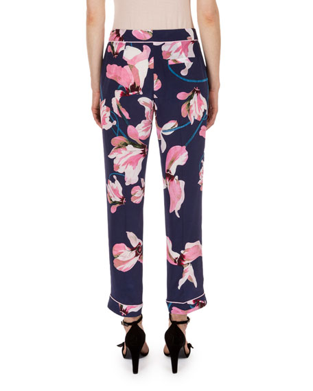 Giulia Floral-Print Pajama Pants, Navy/Pink