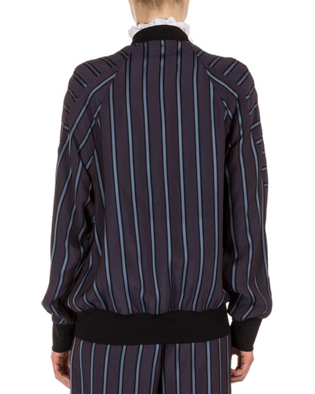 Danni Striped Bomber Jacket, Plum/Blue