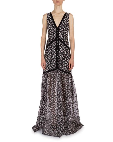 Erdem Mariola Floral-Print V-Neck Gown, Burgundy/Black