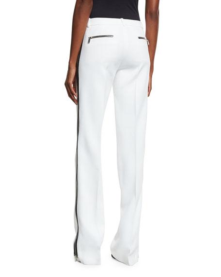 Side-Stripe Double-Crepe Pants, White