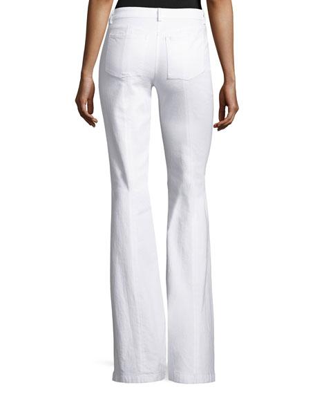 Denim Flare-Leg Pants, White