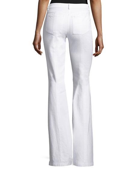 Denim Flare-Leg Pants, White