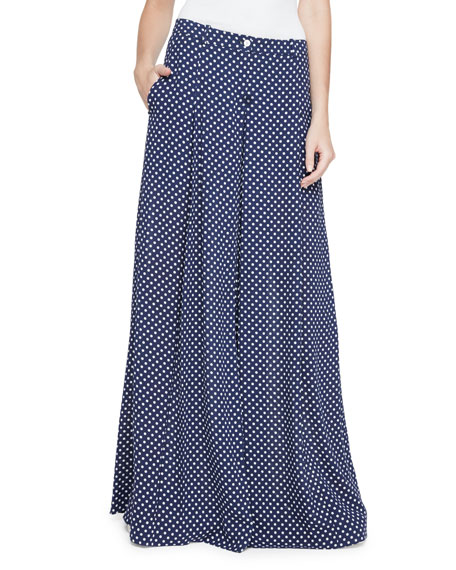 83d78a8a95 Wide-Leg Polka Dot Pants Navy