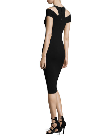 Knit Cap-Sleeve Cold-Shoulder Dress, Black