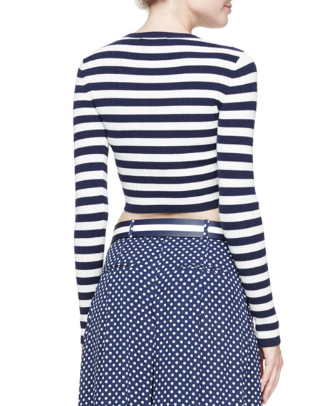 Striped Long-Sleeve Crop Top, Navy
