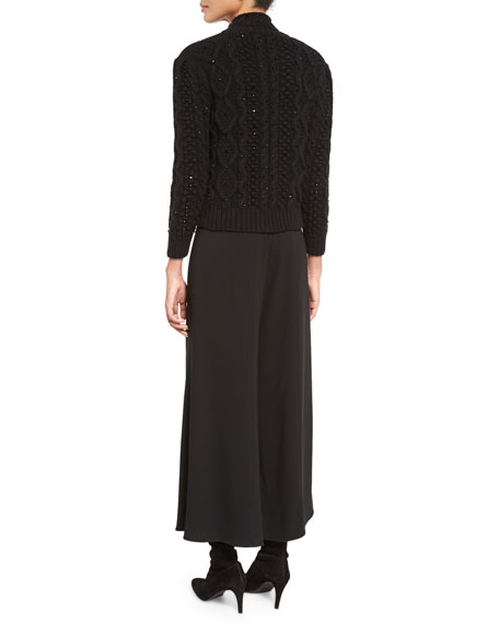 Sequined Cable-Knit Turtleneck Sweater, Black