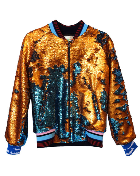 Hot Sale Blue Gold Chinese Men Reversible Coat Silk Satin