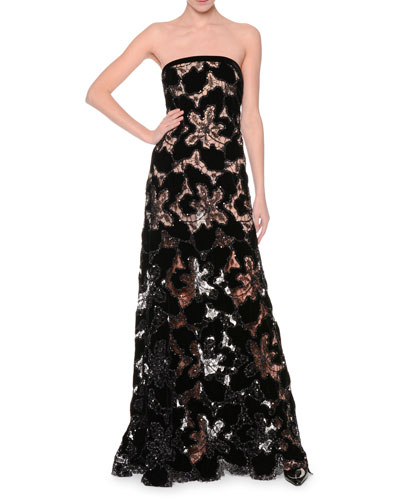 Embellished-Lace Bustier Gown, Black