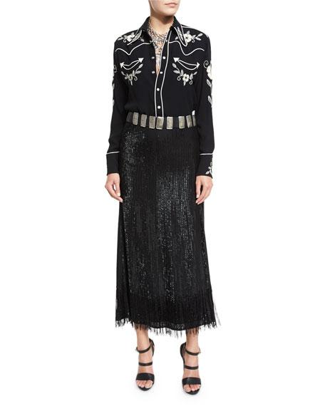Bead-Fringed Midi Skirt, Black