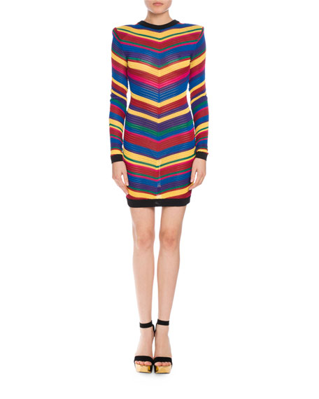 Long-Sleeve Chevron-Knit Dress, Multi