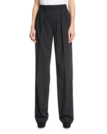 Pinstriped Wool-Crepe Pants, Black