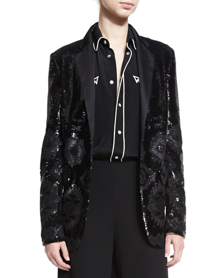 Tess Geometric-Beaded Tuxedo Jacket, Black