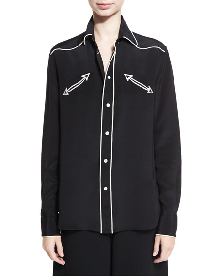 Western Piped Silk Blouse, Black/Ivory