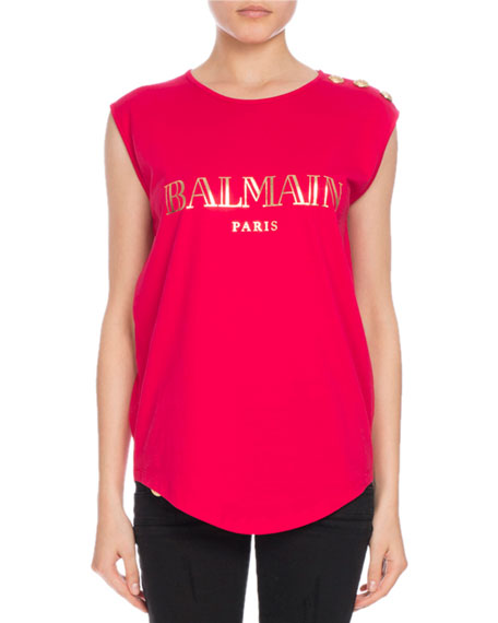 Button-Shoulder Logo Muscle Tee, Pink