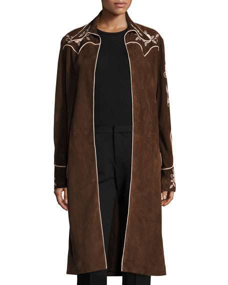 Long Embroidered Suede Coat, Brown