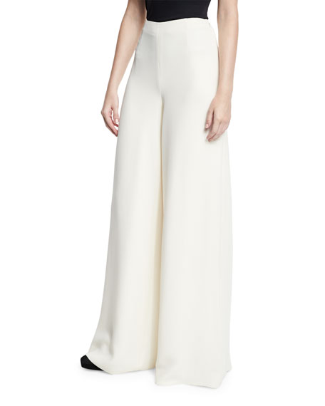 Wide-Leg Heavy Silk Pants, Cream