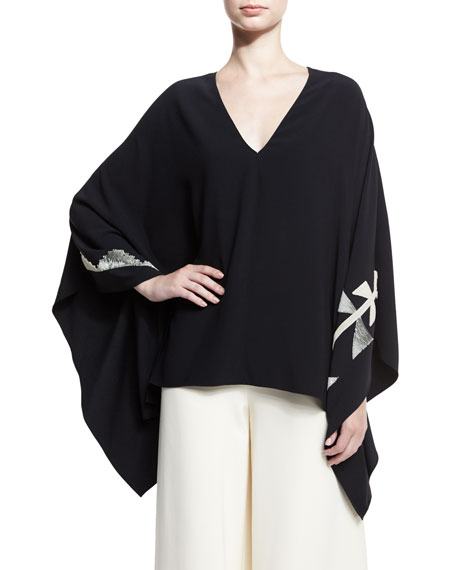 Embroidered Cady Poncho Top, Black