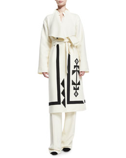 Embroidered Double-Face Wool Wrap Coat, Ivory