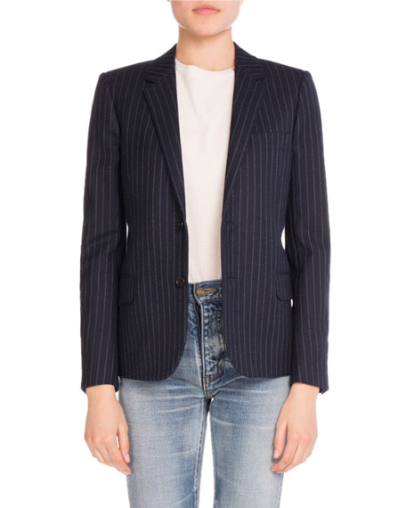 Saint Laurent Pinstriped Wool Elbow-Patch Jacket, Navy