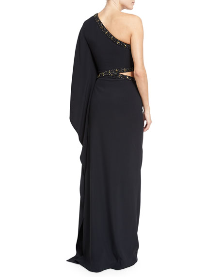 Studded Cady One-Shoulder Gown, Black