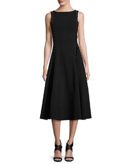 Studded Heavy Jersey Midi Dress, Black