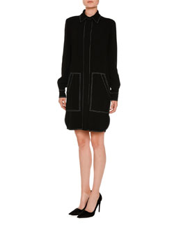 Topstitched Two-Pocket Shirtdress, Black