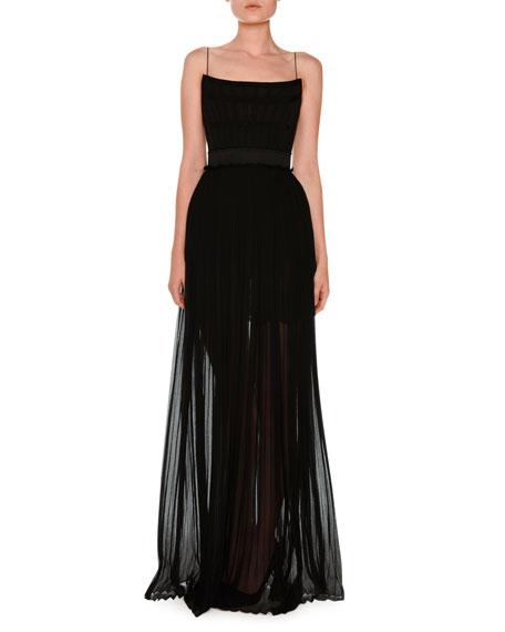 Sleeveless Silk Chiffon Corset Gown, Black
