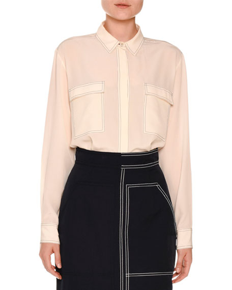 Topstitched Two-Pocket Crepe de Chine Blouse, Ivory
