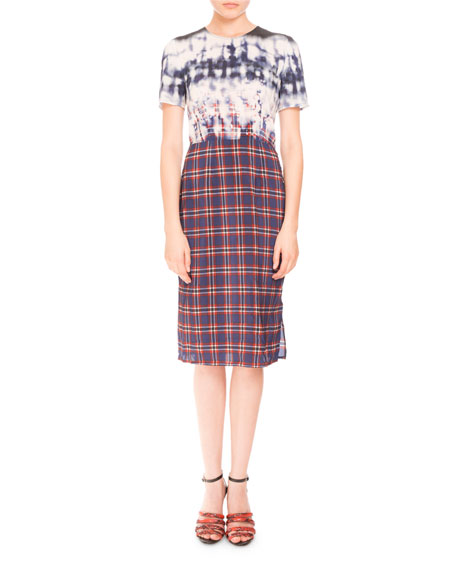 Short-Sleeve Tie-Dye Plaid Combo Dress, Navy