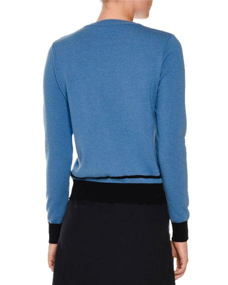 Eye Intarsia Crewneck Sweater, Blue