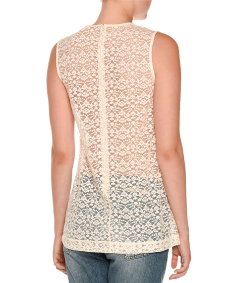 Sleeveless Lace Ruffle-Bib Top, Ivory