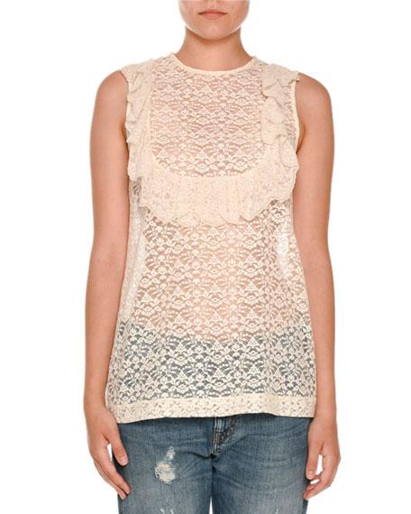 Sleeveless Lace Ruffle-Bib Top, Ivory