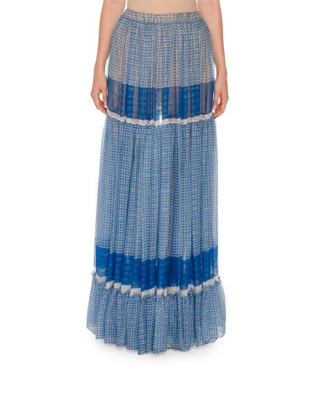 Printed Boho Maxi Skirt, Blue