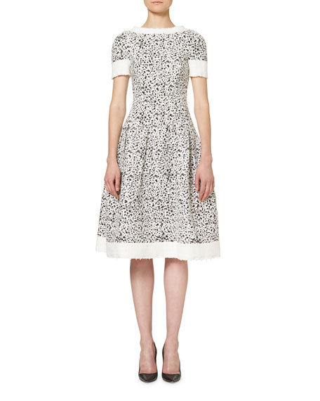 Short-Sleeve Splatter-Print Dress, White/Black