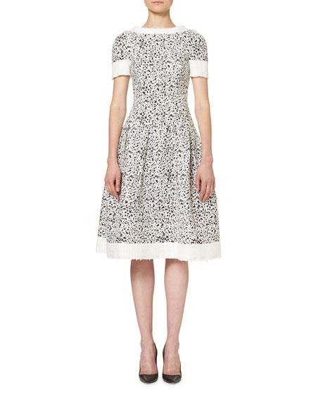 Short-Sleeve Splatter-Print Dress, White/Black