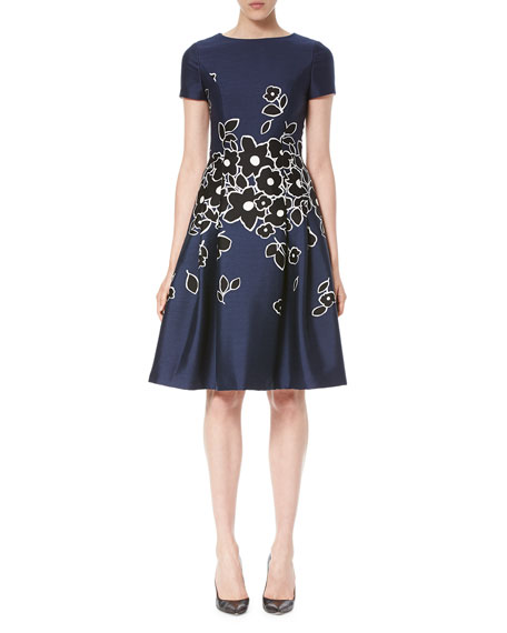 Carolina Herrera Short-Sleeve Floral-Embroidered Dress, Dark
