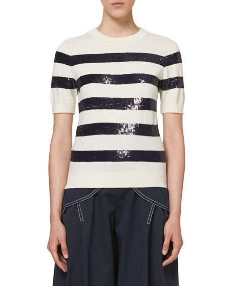 Knit Sequin-Striped Sweater, Ivory