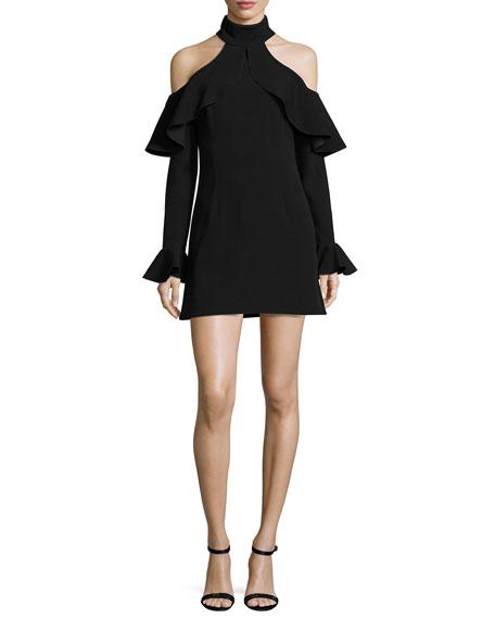 Elie Saab Ruffled Mock Neck Cold Shoulder Dress Black