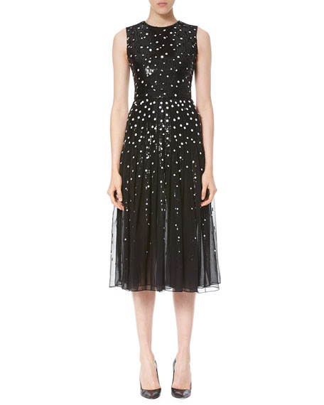 Dotted Sequin Tulle Cocktail Dress, Black/White