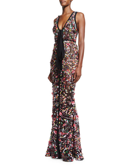 Sequined Sleeveless Tie-Front Gown, Multicolor