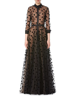 Illusion Polka Dot Tulle Trench Gown, Black