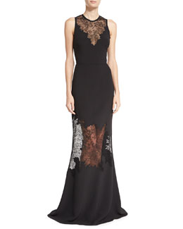 Sleeveless Lace Illusion Gown, Black