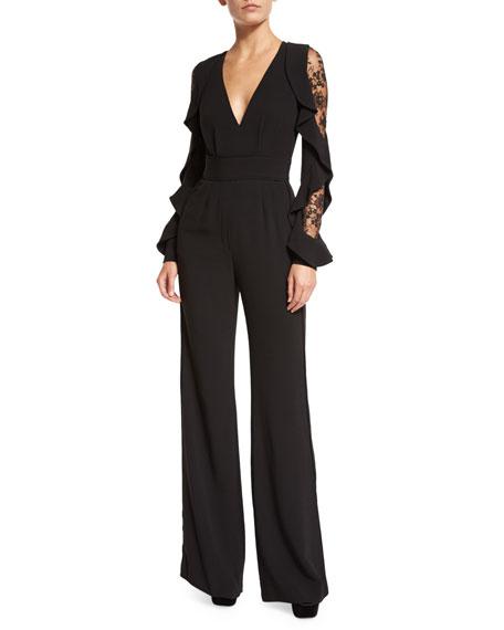 986225a6956 Elie Saab Ruffled Lace-Sleeve Crepe Jumpsuit