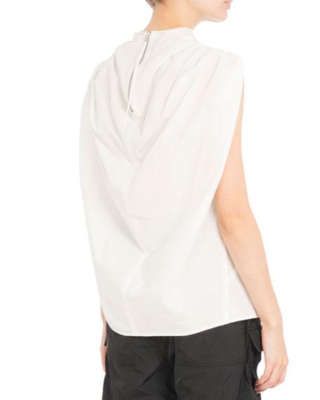 Poplin Mock-Neck Top, White