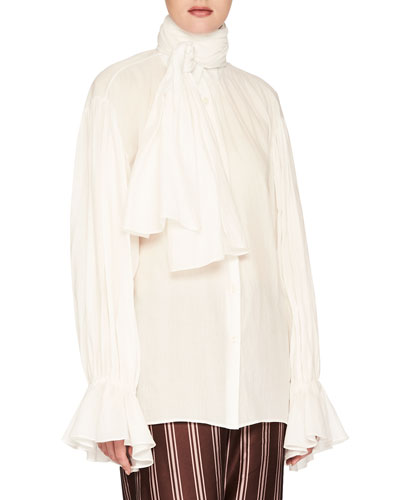 Washed Cotton Voile Tie-Neck Top, White
