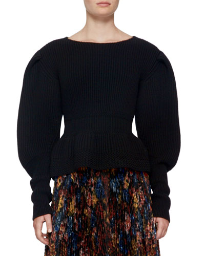 Ribbed Knit Balloon-Sleeve Sweater, Black