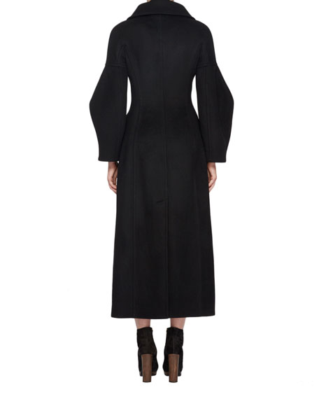 Long Wool Military Coat, Black