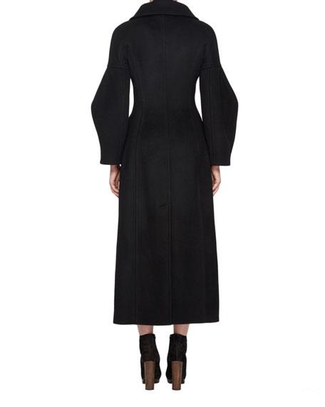 Long Wool Military Coat, Black