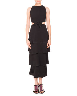 Sleeveless Tiered Cutout Midi Dress, Black